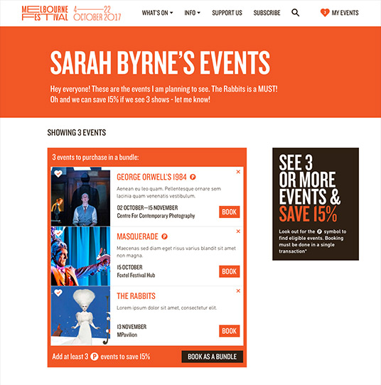 Example of events page when logged in